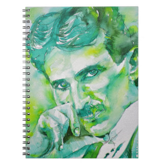 nikola tesla - watercolor portrait.2 spiral notebook