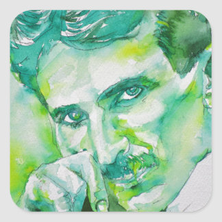 nikola tesla - watercolor portrait.2 square sticker