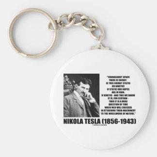 Nikola Tesla Wheelwork Of Nature Kinetic Energy Basic Round Button Keychain