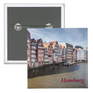 Nikolaifleet, Hamburg, Germany 2 Inch Square Button