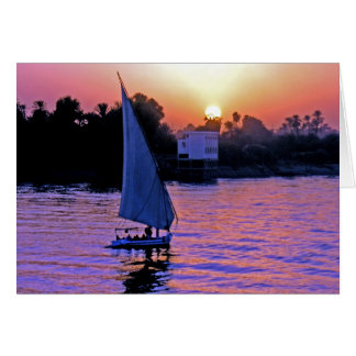 Nile and Felucca at Sunset (2) Card