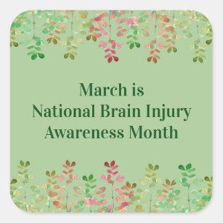 Nile Green Brain Injury Awareness Square Sticker