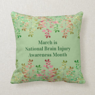 Nile Green Brain Injury Awareness Throw Pillow