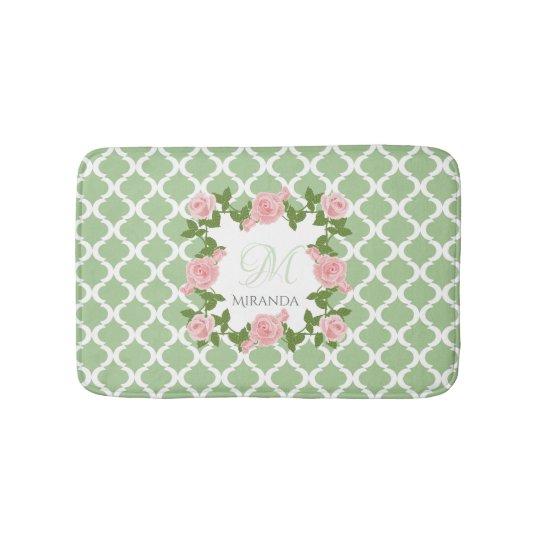 Nile Green Quatrefoil Pink Rose Monogram With Name Bath Mat