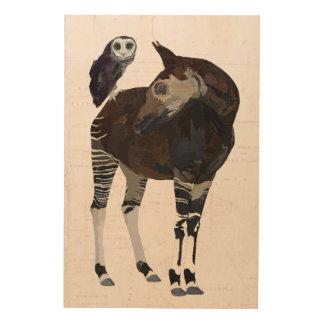 NILGAI & VIOLET OWL Wooden Canvas Wood Wall Decor
