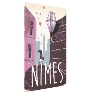 Nîmes France Cartoon travel poster Canvas Print