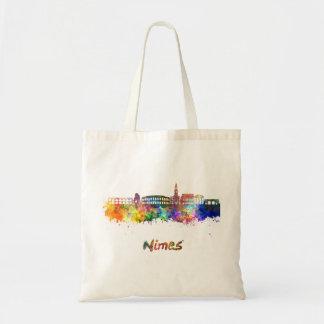Nimes skyline in watercolor