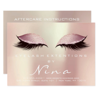 Nina Lashes Extension Aftercare Instruction Pink Card