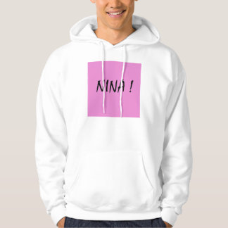 Nina text girls name with pink background hoodie