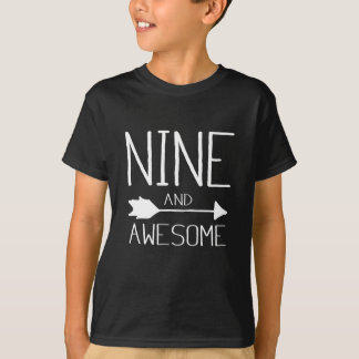 Nine And Awesome 9th Birthday Gift T-Shirt