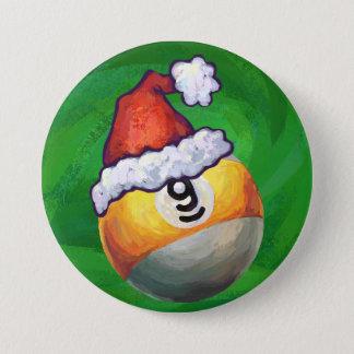 Nine Ball in Santa Hat on Green 3 Inch Round Button