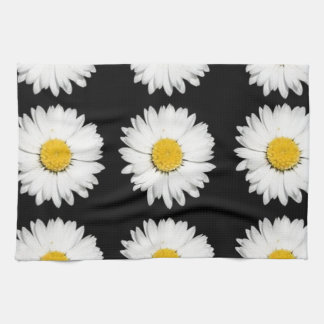 Nine Common Daisies Isolated on A Black Backgound Kitchen Towel