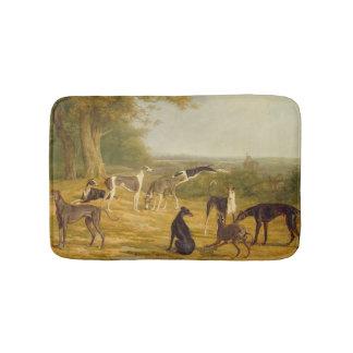 Nine Greyhounds in a Landscape (oil on canvas) Bath Mat