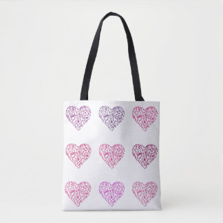 Nine Hearts Of Music Notes Tote Bag