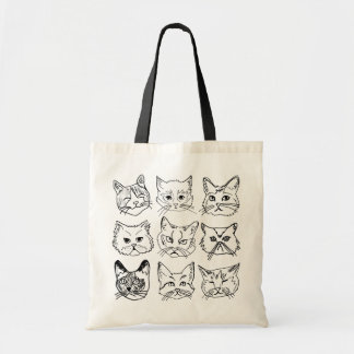 Nine Illustrated Cats Tote Bag w/ Black Straps