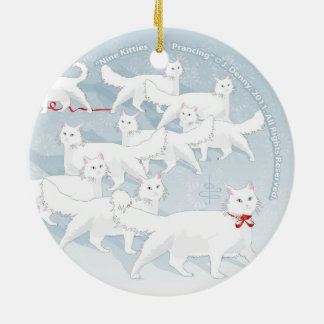 Nine Kitties Prancing... double sided Ceramic Ornament
