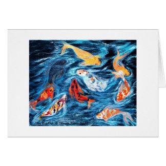 Nine Koi Fish. Greeting card