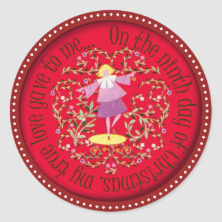 Nine ladies dancing classic round sticker