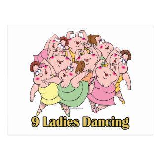 nine ladies dancing ninth 9th day of christmas postcard