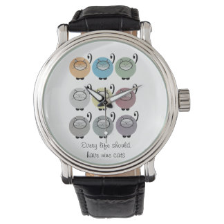 Nine Lives Cat Quote Watch