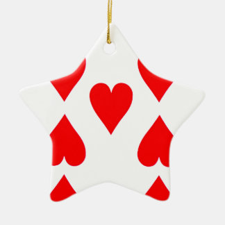 Nine of Hearts Playing Card Ceramic Star Ornament