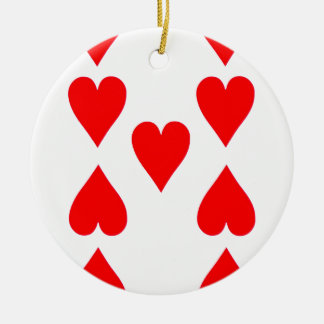 Nine of Hearts Playing Card Round Ceramic Ornament