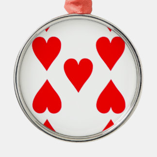 Nine of Hearts Playing Card Silver-Colored Round Ornament