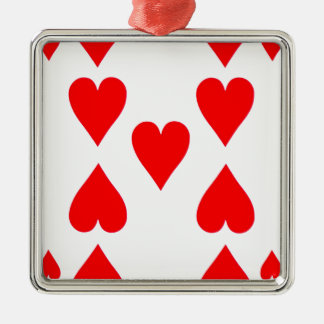 Nine of Hearts Playing Card Silver-Colored Square Ornament