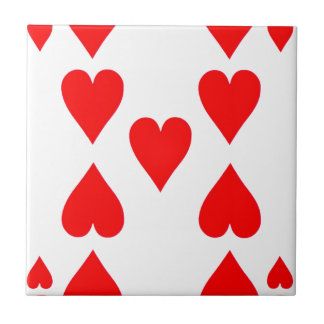 Nine of Hearts Playing Card Tile