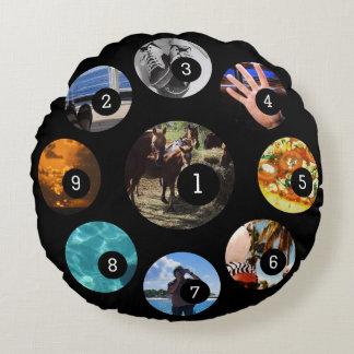 Nine of Your Photos to Make Your Own Easily Black Round Pillow