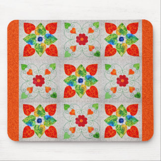 Nine Patch Heart Quilt Mouse Pad