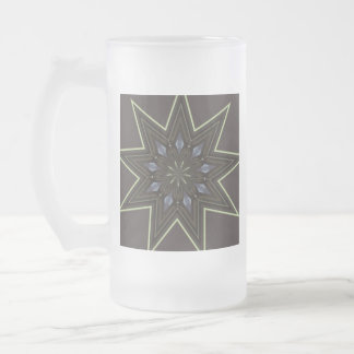 Nine Pointed Star Frosted Glass Beer Mug