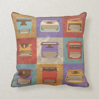 Nine Retro Typewriters Throw Pillow
