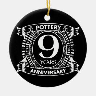 Nine years Pottery wedding anniversary Ceramic Ornament