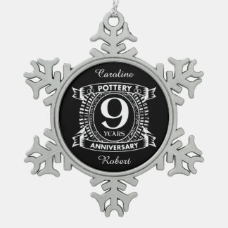 Nine years Pottery wedding anniversary Snowflake Pewter Christmas Ornament