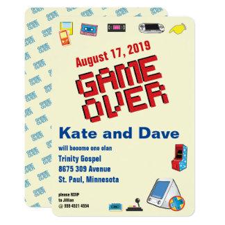 Nineties Video Gamer Game Over Wedding Card