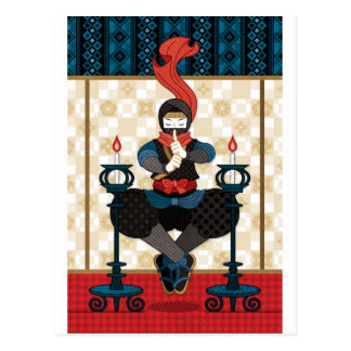 Ninja and candlesticks postcard