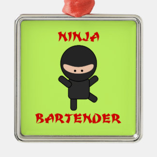 Ninja Bartender Metal Ornament