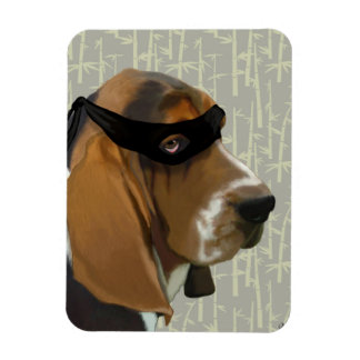 Ninja Basset Hound Dog Magnet