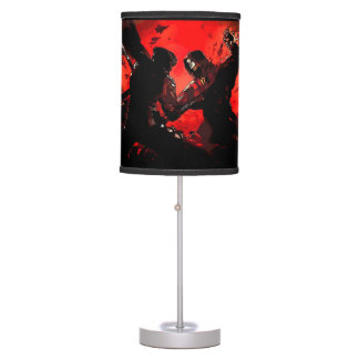 Ninja Battle Watercolor Graphic Art Table Lamp