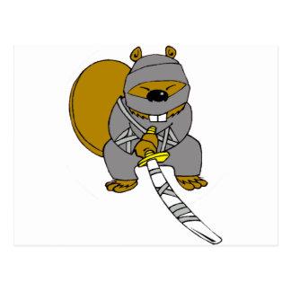 Ninja Beaver Postcard