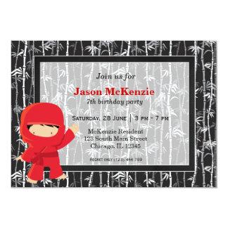 """Ninja birthday theme 5"""" x 7"""" invitation card"""