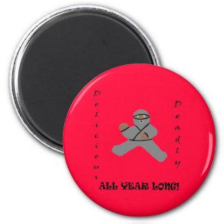 Ninja Bread Man Round Magnet