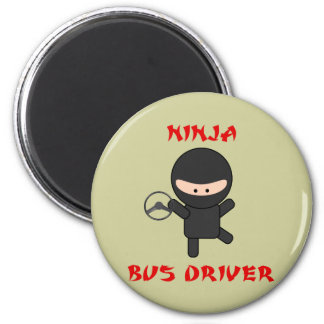 ninja bus driver with wheel 2 inch round magnet
