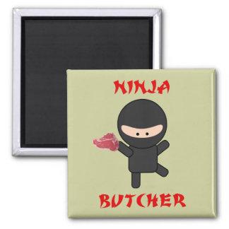 ninja butcher with steak square magnet