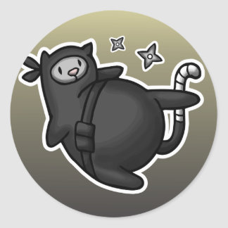 Ninja Cat Round Sticker
