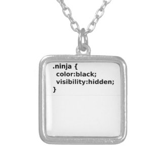 Ninja Coder CSS Class Silver Plated Necklace