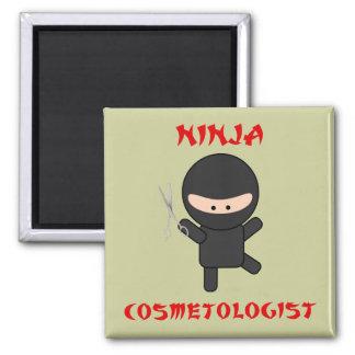 ninja cosmetologist with scissors square magnet