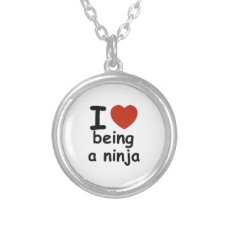 ninja design silver plated necklace