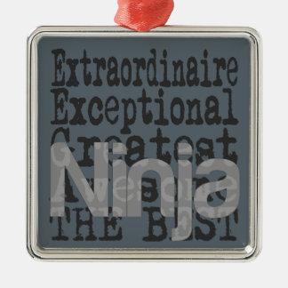 Ninja Extraordinaire Silver-Colored Square Ornament